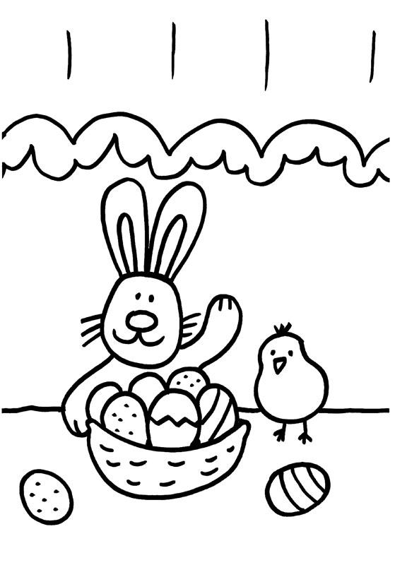 Dibujo para colorear de un conejo y un pollito en Pascua