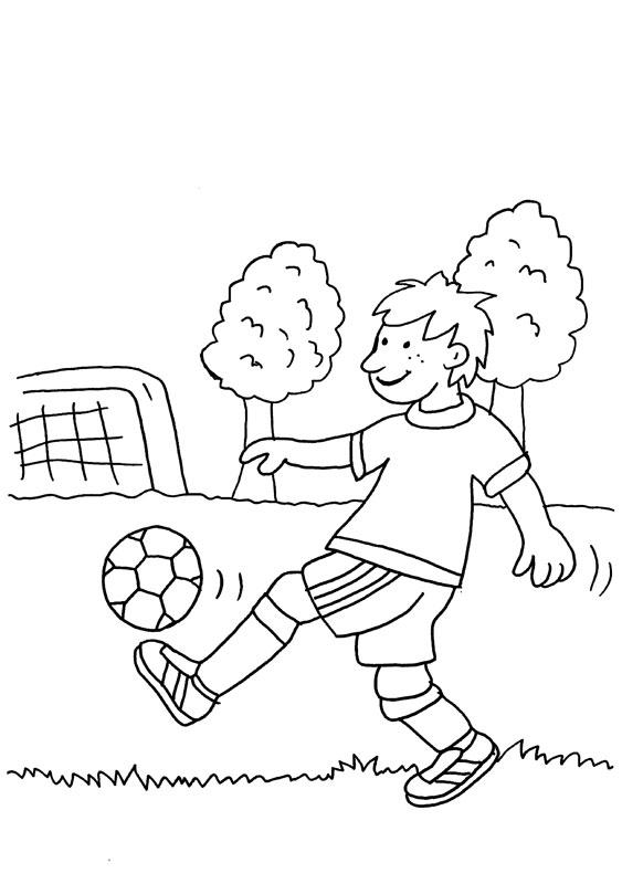 Niño peloteando con el píe: dibujo para colorear e imprimir