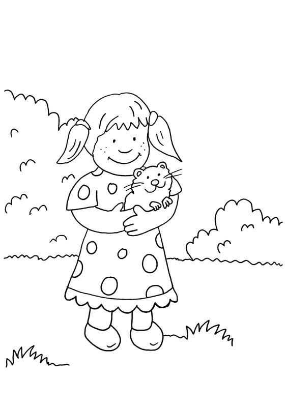 Dibujo para colorear de una niña con un conejo de india en los brazos