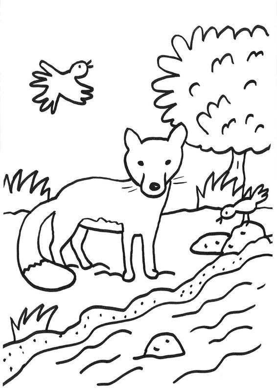 Dibujo infantil de un zorro delante de un riachuelo para imprimir y colorear
