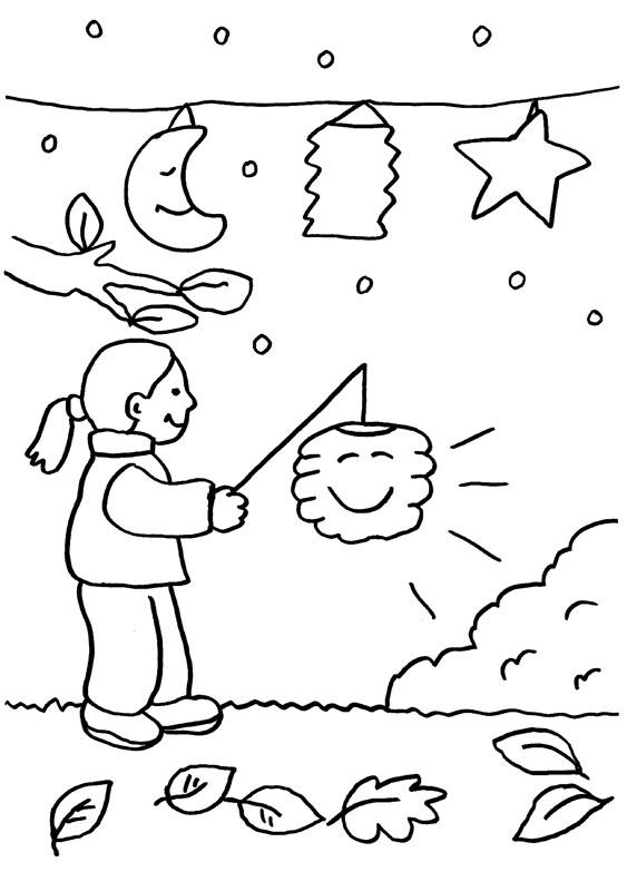 Dibujo infantil para colorear de una niña jugando con linternas