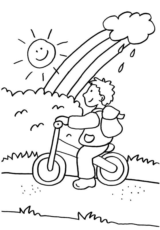Niño Montando En Bici Bajo El Arco Iris Dibujo Para