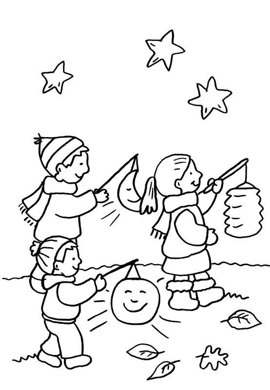 Dibujo para colorear de niños con linternas bajo las estrellas