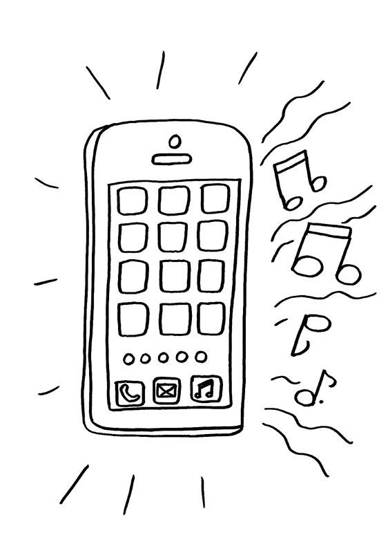 Dibujo para colorear de un teléfono sonando
