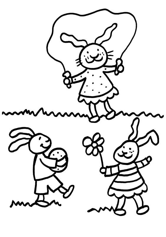 Dibujo para colorear de conejo saltando a la comba