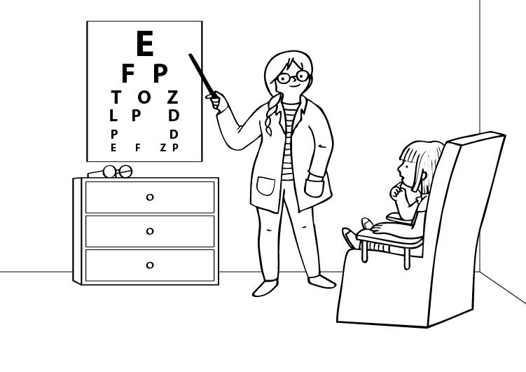 Dibujos De Medicos Para Colorear E Imprimir: Oculista: Dibujo Para Colorear E Imprimir