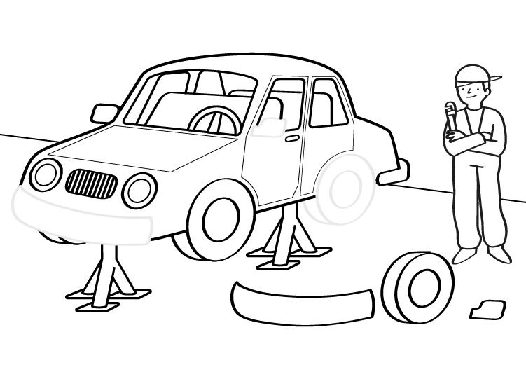 Dibujo para colorear de un mecánico reparando un coche