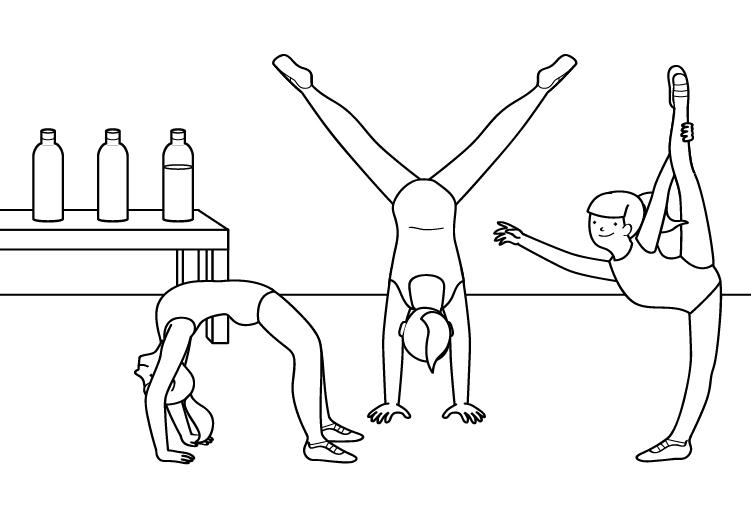 Dibujo para colorear de un equipo de gimnastas