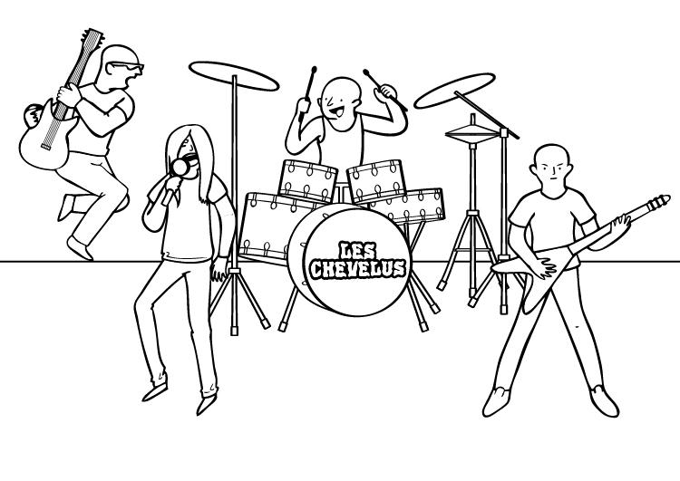 Dibujo para colorear de un grupo de rockeros