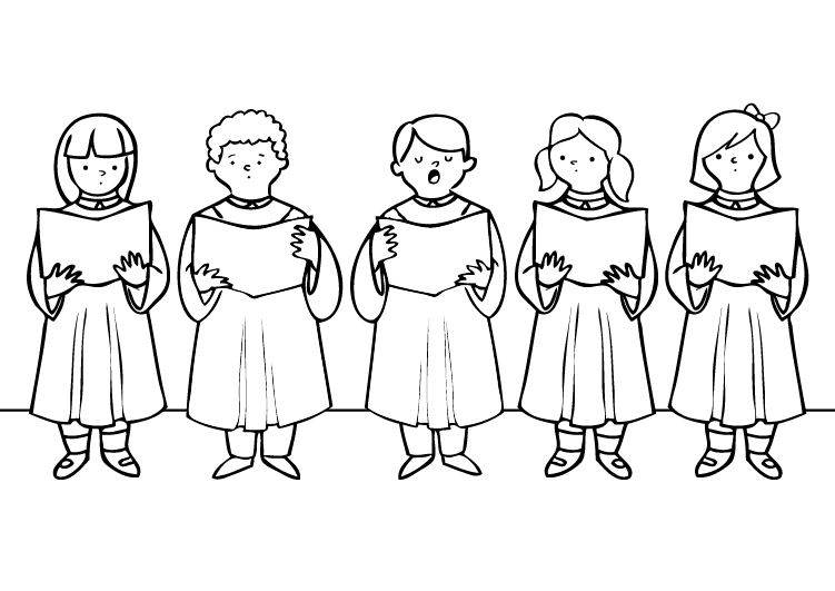 Dibujo para colorear de niños cantando en un coro