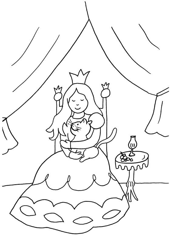 Dibujo para colorear de una princesa con su gato