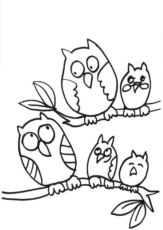 Dibujo para colorear de una familia de búhos