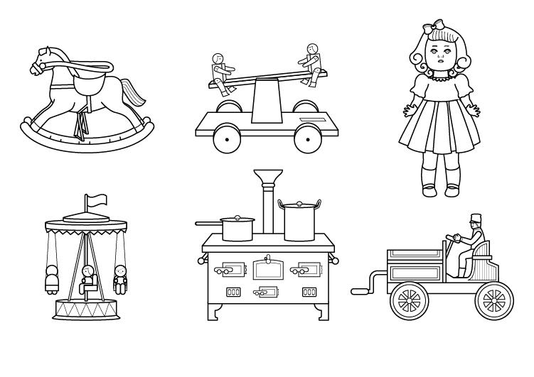 Juguetes antiguos dibujo para colorear e imprimir