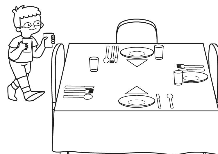 Dibujo para colorear de un niño poniendo la mesa
