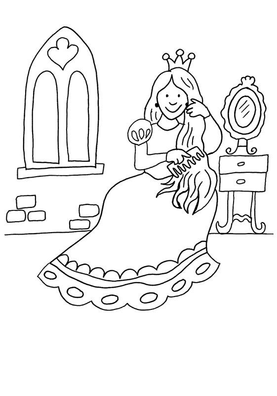Dibujo para colorear de una princesa y su peinado