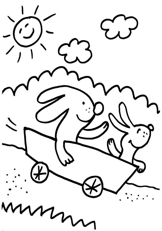 Dibujo para colorear de conejos jugando en el campo