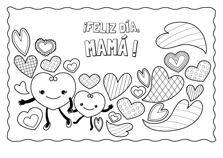 Corazones Para El Día De La Madre Dibujo Para Colorear E Imprimir