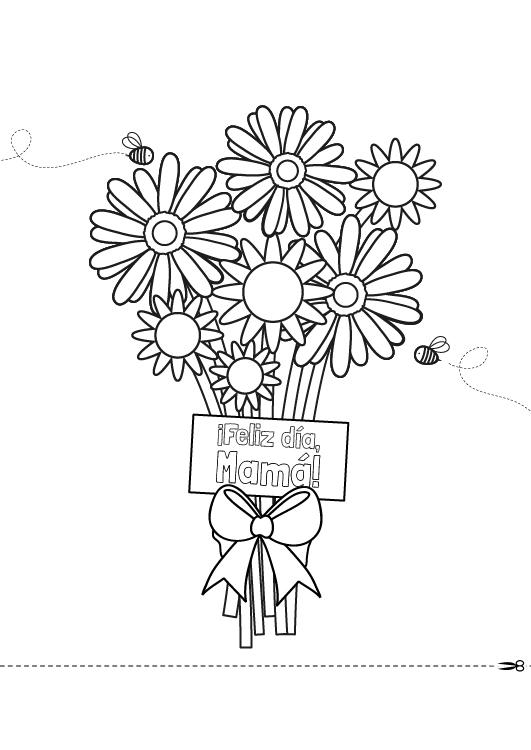 Dibujo para colorear para el dia de la madre de un ramo de flores