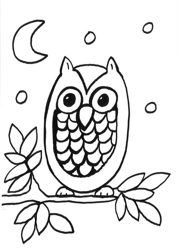 dibujo para colorear de un búho bajo la luna