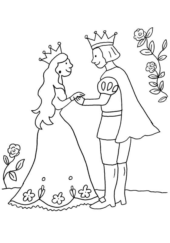 dibujo para colorear de una princesa y un principe