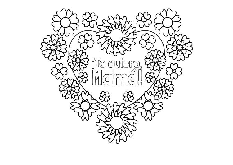 Dibujo para colorear del dia de la madre con corazón yflores