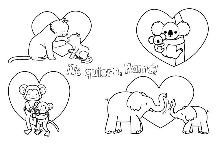 Dibujo para colorear del dia de la madre mamás de animales