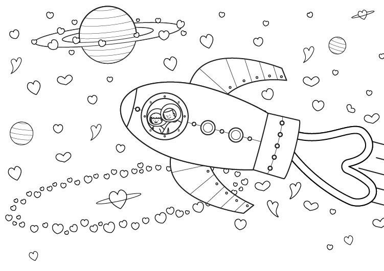 Dibujo para colorear para el dia de la madre de un universo de corazones