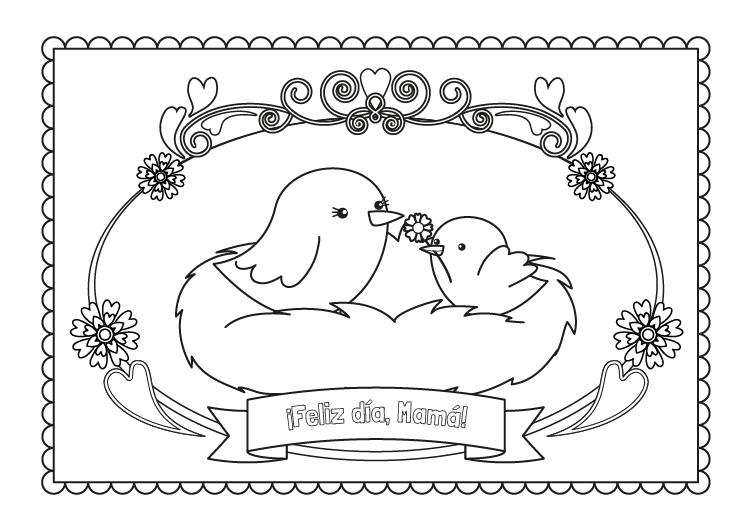 Felicitación Para Mamá Dibujo Para Colorear E Imprimir
