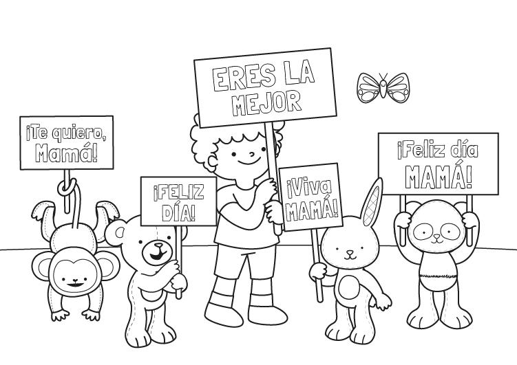 Dibujo para colorear para el dia de la madre de felicitación de peluches