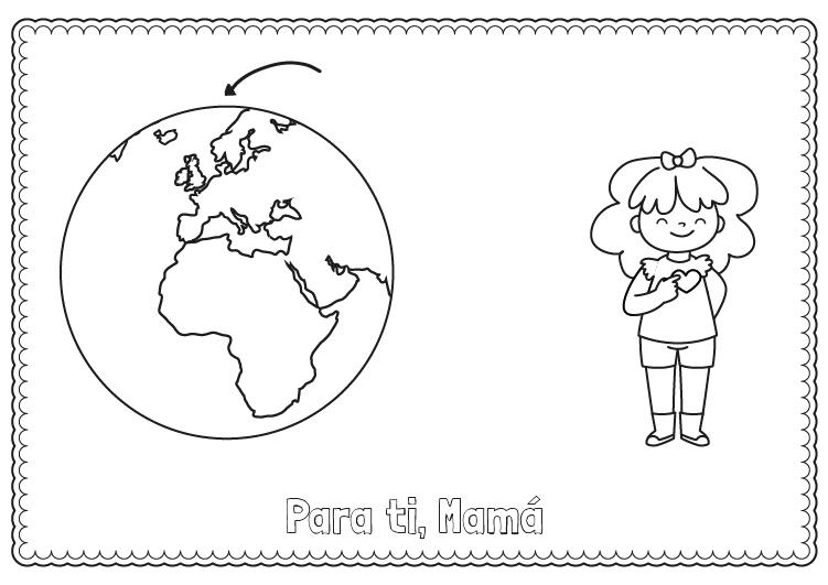Dibujo para colorear para el dia de la madre del mundo y corazón
