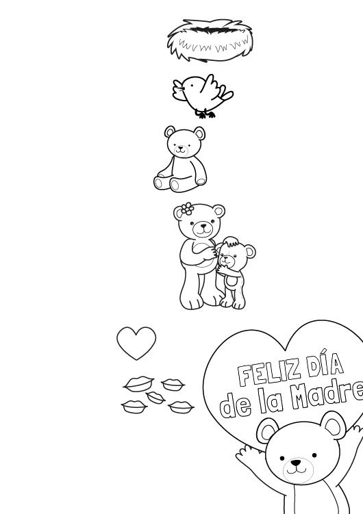 Feliz Día De La Madre Dibujo Para Colorear E Imprimir