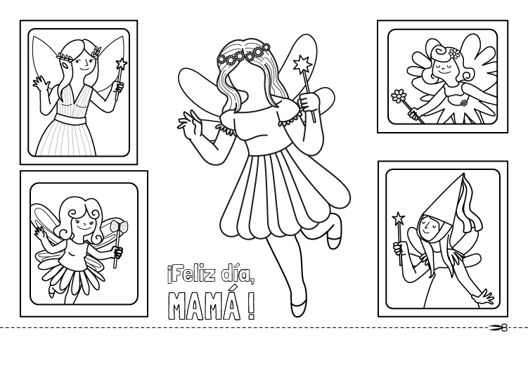 Mamá, reina de las hadas: dibujo para colorear e imprimir