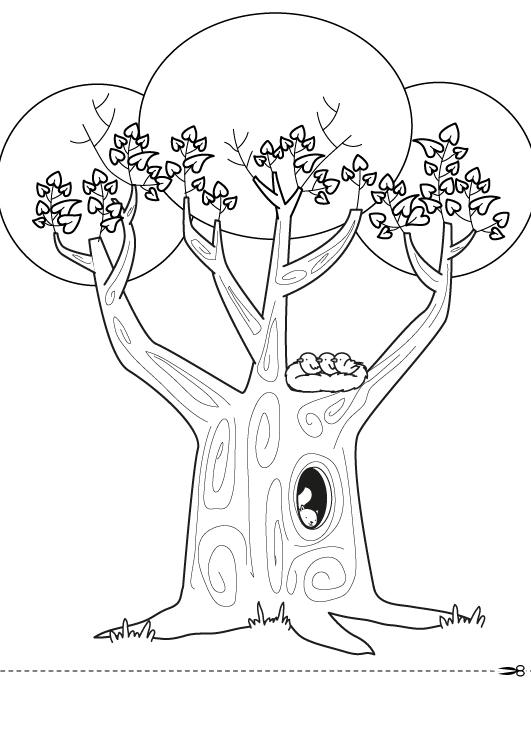 Dibujo para colorear para el dia de la madre de una arbol