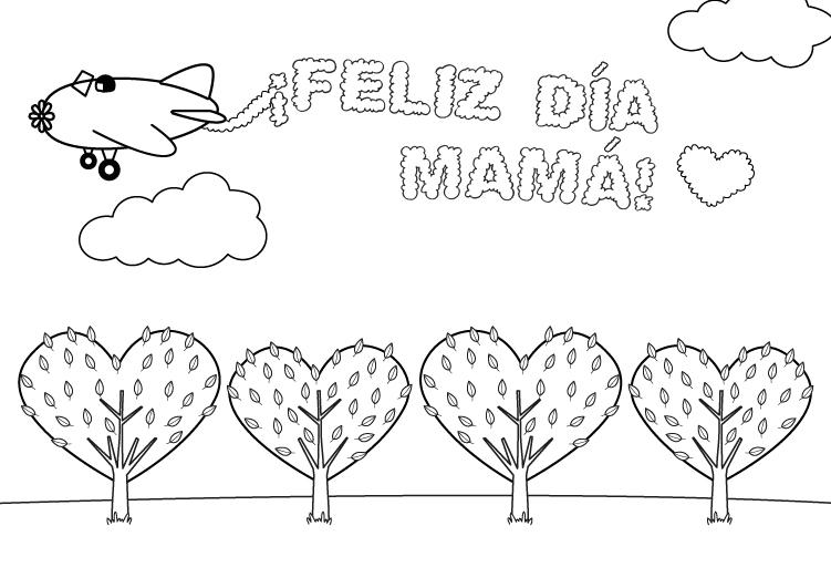 Dibujo para colorear para el dia de la madre de una felicitacion con avioneta