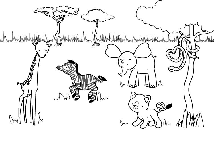 Dibujo para colorear del dia de la madre de animales de la sabana