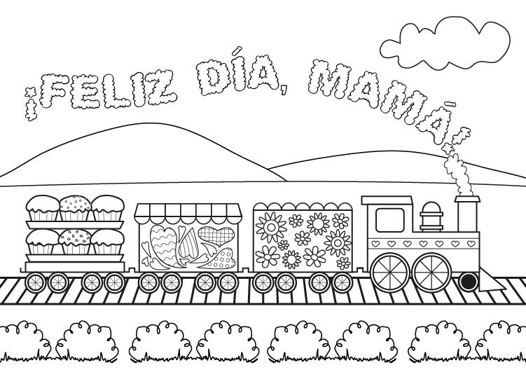 Dibujo para colorear del dia de la madre de felicitación con tren