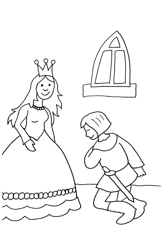 Dibujo para colorear de una princesa y un principe en la pedida de mano