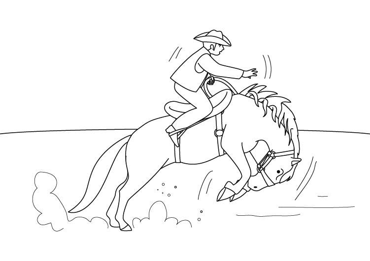 Dibujo para colorear de un vaquero y su caballo