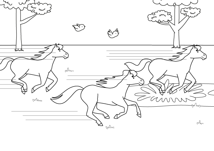 Worksheet. Imprimir Carrera de caballos dibujo para colorear e imprimir