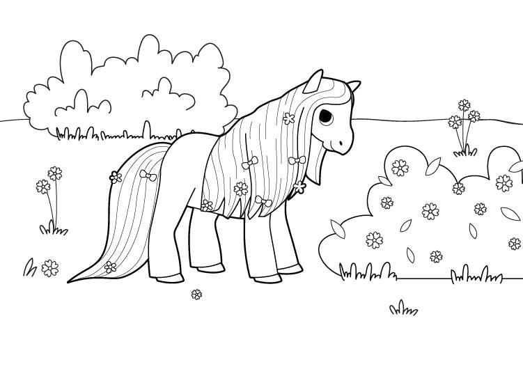 Dibujo para colorear de un poni presumido
