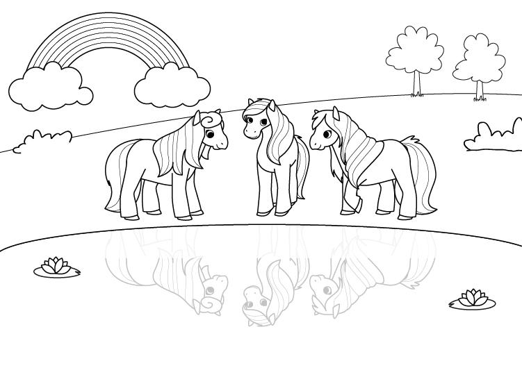 Dibujos De Pony Para Imprimir Y Colorear: Ponis Bajo El Arco Iris: Dibujo Para Colorear E Imprimir