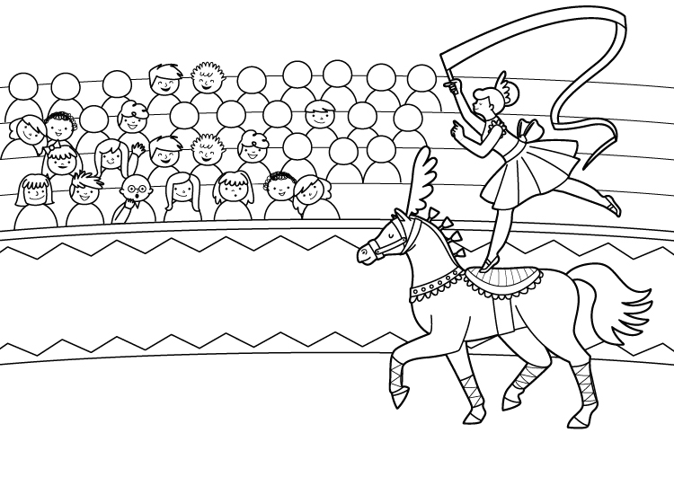 Dibujo para colorear de un caballo de circo