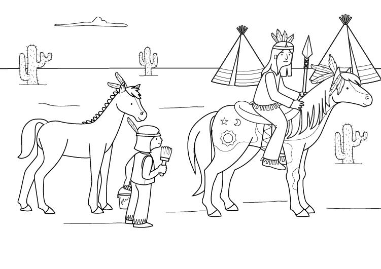 Dibujo para colorear de caballos indios
