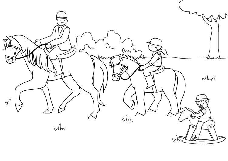 Dibujos De Caballos Para Colorear E Imprimir: Familia De Jinetes: Dibujo Para Colorear E Imprimir
