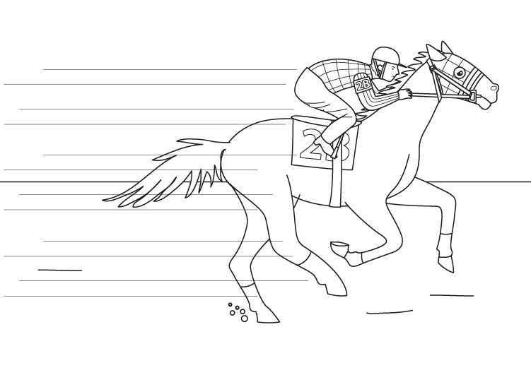 Imprimir: Caballo de carreras: dibujo para colorear e imprimir