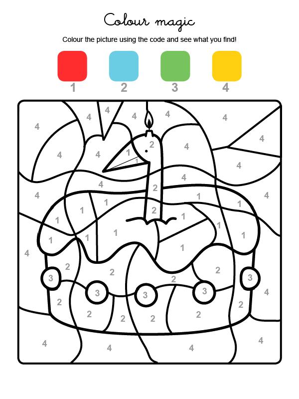 Dibujo mágico para colorear en inglés de cumpleaños 1