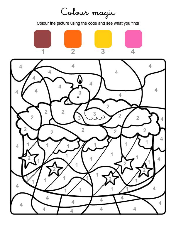 Dibujo mágico para colorear en inglés de cumpleaños 2