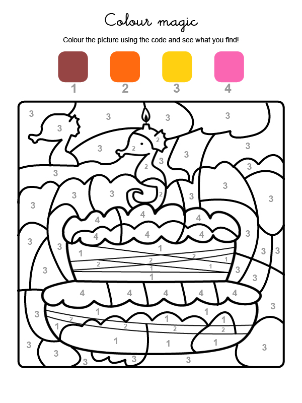 Dibujo mágico para colorear en inglés de cumpleaños 3