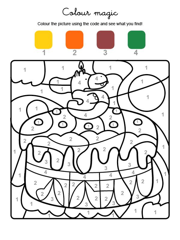 Dibujo mágico para colorear en inglés de cumpleaños 5