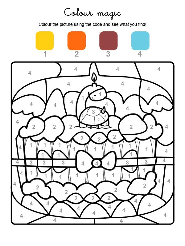 Dibujo mágico para colorear en inglés de cumpleaños 6
